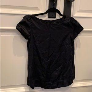 Club Monaco black silk puff sleeve top